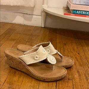 Jack Rogers Thong Wedge Sandal in Beige and White